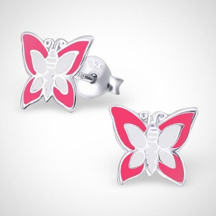 Afbeeldingen van Zilveren oorstekers voor kinderen - vlinder - roze-wit