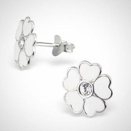 Afbeeldingen van Zilveren kinderoorbellen - oorknoppen - bloem - wit