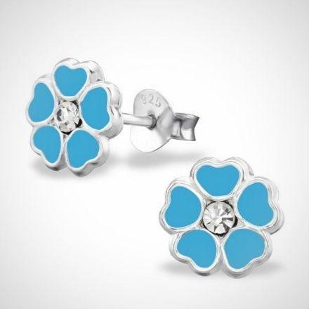 Afbeeldingen van Zilveren kinderoorbellen - oorknoppen - bloem - blauw