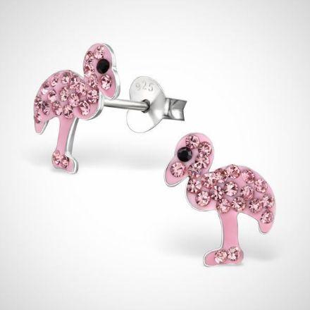 Afbeeldingen van Zilveren kinderoorbellen - oorknoppen - flamingo - rose