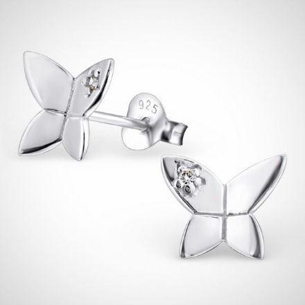 Afbeeldingen van Zilveren kinderoorbellen - vlinder met zirconia steentjes