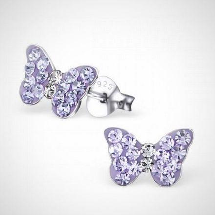 Afbeeldingen van Zilveren kinderoorbellen - vlinder met kristal - paars
