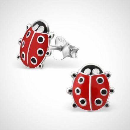 Afbeeldingen van zilveren oorknopjes - lady bug - rood