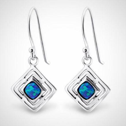 Afbeeldingen van Zilveren oorhangers - opaal - dames - peacock