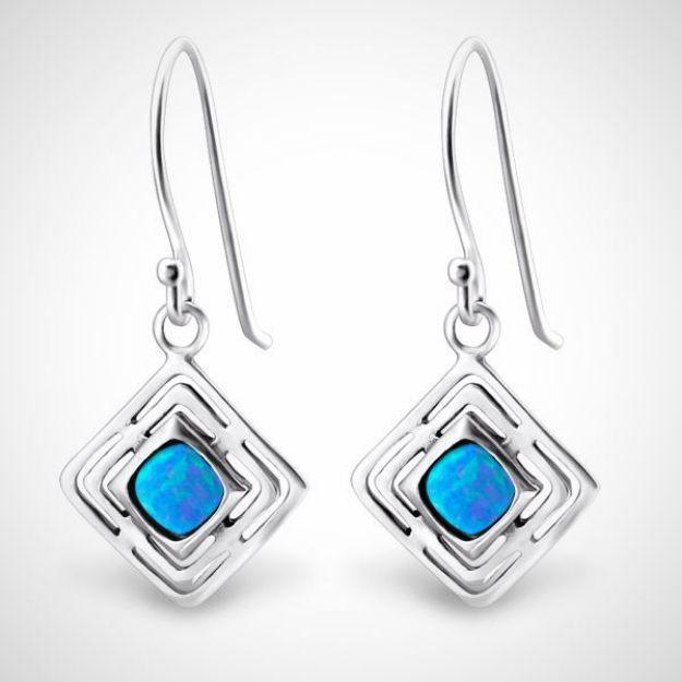 Afbeeldingen van Zilveren oorhangers - opaal - dames - azure blauw