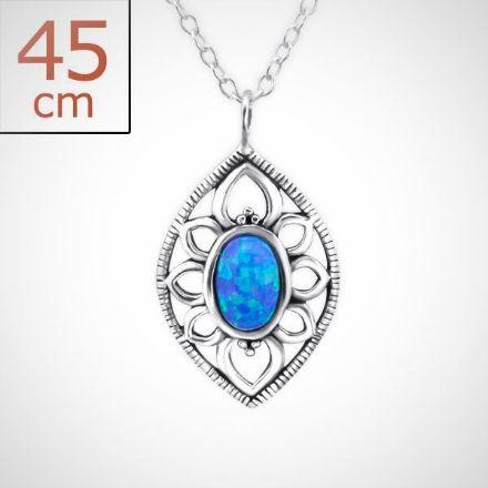 Afbeeldingen van Zilveren ketting met hanger - opaal - dames - pacific blue