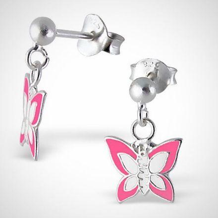 Afbeeldingen van zilveren oorstekers - vlinder -  roze/ wit