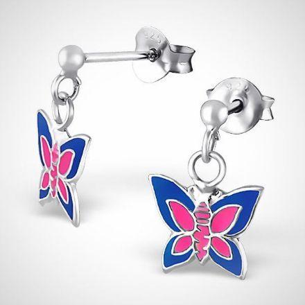 Afbeeldingen van zilveren oorstekers - vlinder -  roze/ blauw