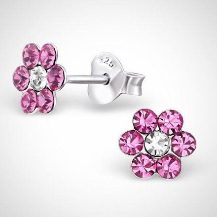 Afbeeldingen van Zilveren kinderoorknoppen - bloem - roze