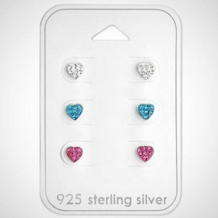 Afbeeldingen van Set Hart - 925 sterling zilveren kinderoorknopjes met kristal
