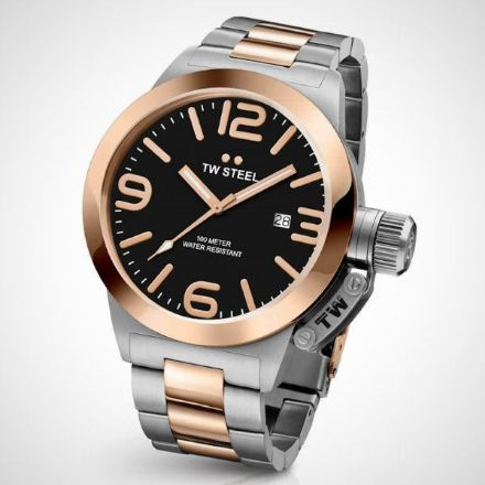 Afbeeldingen van TW Steel horloge - CB131 Canteen Bracelet - herenhorloge - Canteen Bracelet Collection - Horloge - Staal - 45 mm - Zilverkleurig