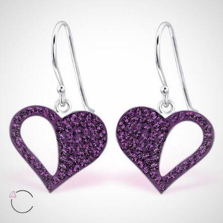 Afbeeldingen van Zilveren oorbellen met SwarovskiⓇ- paars hart
