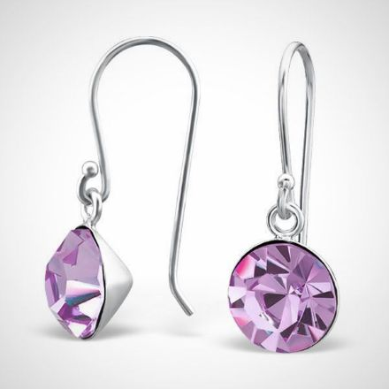 Afbeeldingen van zilver damesoorbellen - kristal - violet