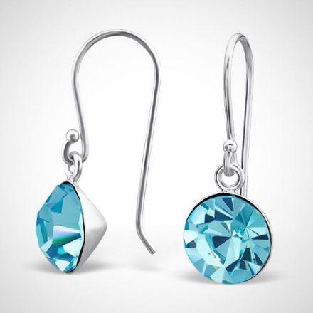 Afbeeldingen van zilver damesoorbellen - kristal - blauw