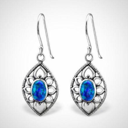 Afbeeldingen van Zilveren oorhangers marquise met opaal - pacific blue