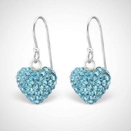 Afbeeldingen van Hart - Zilveren oorhangers met kristallen hart - blauw