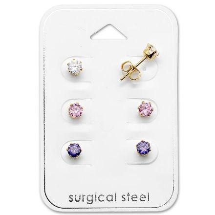 Afbeeldingen van Set 316L Chirurgisch roestvrij staal oorknoppen in de vorm van kroon met kristal