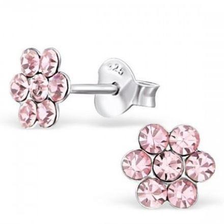Afbeeldingen van Zilveren kinderoorknoppen - bloem - kristal /roze
