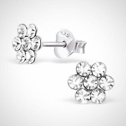 Afbeeldingen van Zilveren kinderoorknoppen - bloem - kristal