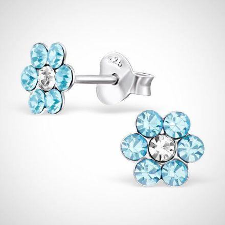 Afbeeldingen van Zilveren kinderoorknoppen - bloem - kristal/blauw