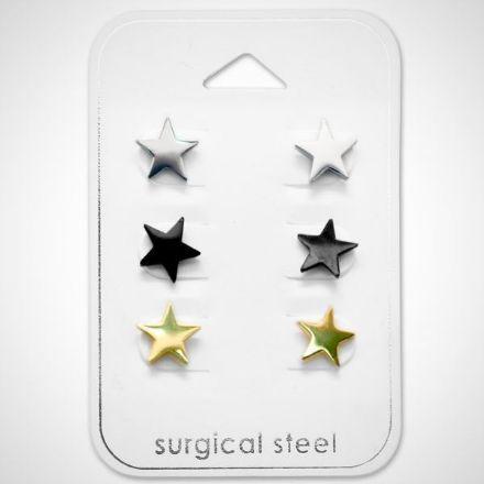 Afbeeldingen van Set 316L Chirurgisch roestvrij staal oorknoppen - sterren