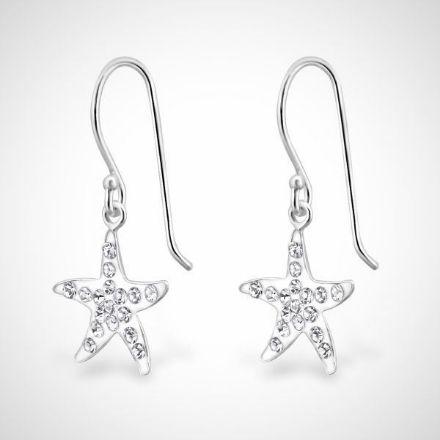 Afbeeldingen van 925 sterling zilveren oorhangers met kristallen zeester
