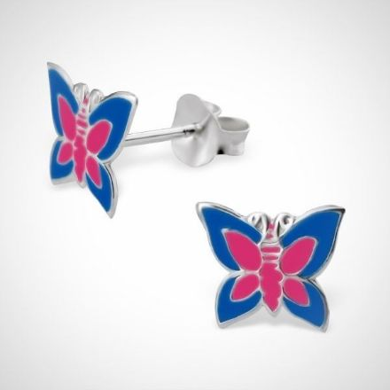 Afbeeldingen van zilveren kinderoorstekers - vlinder