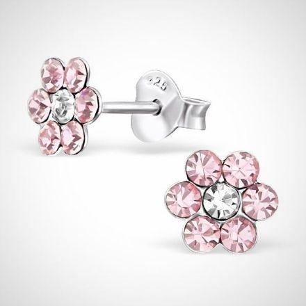 Afbeeldingen van Zilveren kinderoorknoppen -bloem - roze