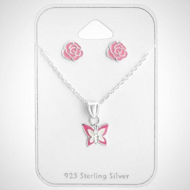 Afbeeldingen van zilveren sieraden set - ketting met vlinder hanger en oorknoppen