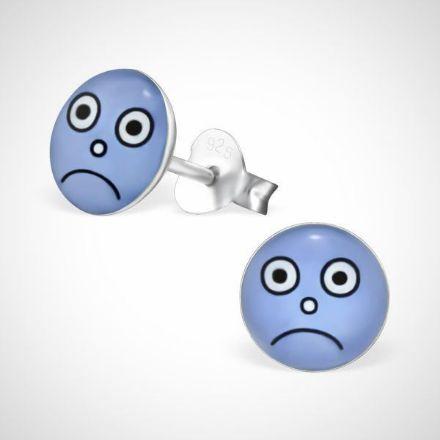 Afbeeldingen van Smiley  925 sterling zilver oorstekers blauw - droevig