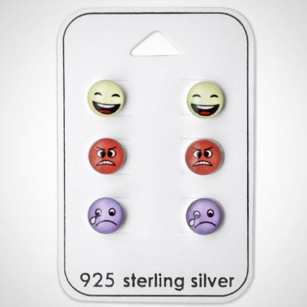 Afbeeldingen van Zilveren oorknoppen - smiley set - blij, boos, verdrietig