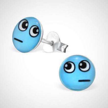 Afbeeldingen van Smiley  925 sterling zilver oorstekers blauw -  afvragend
