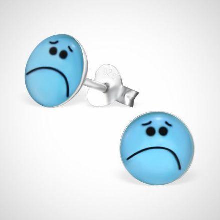 Afbeeldingen van Smiley  925 sterling zilver oorstekers blauw - verdrietig