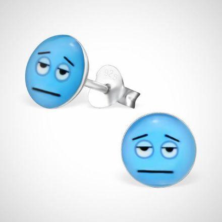 Afbeeldingen van Smiley  925 sterling zilver oorstekers blauw - vermoeid