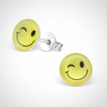 Afbeeldingen van Smiley face 925 sterling zilver oorstekers -knipoog