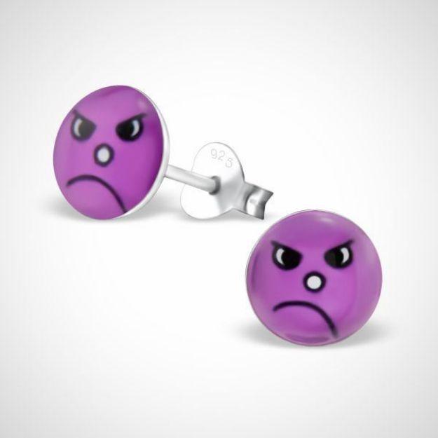 Afbeeldingen van Smiley 925 sterling zilver oorstekers - boos