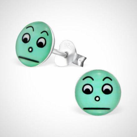 Afbeeldingen van Smiley  925 sterling zilver oorstekers- groen-verrast
