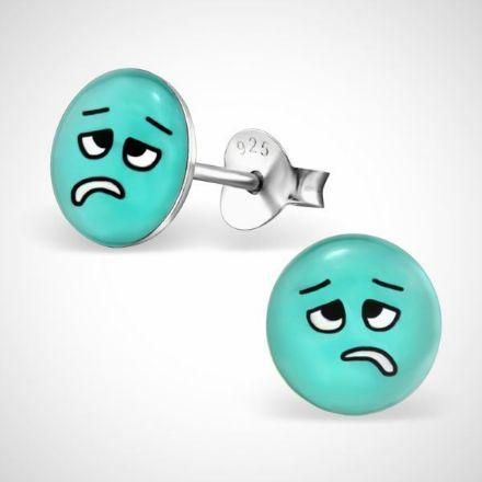 Afbeeldingen van Smiley  925 sterling zilver oorstekers blauw - ziek