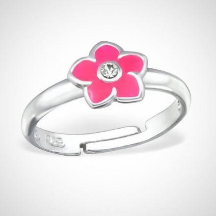 Afbeeldingen van Zilveren kinderring  met roze bloem