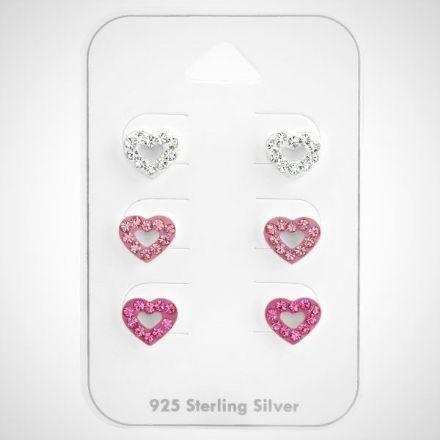 Afbeeldingen van Zilveren kinderoorknopjes - set van 3 - hart