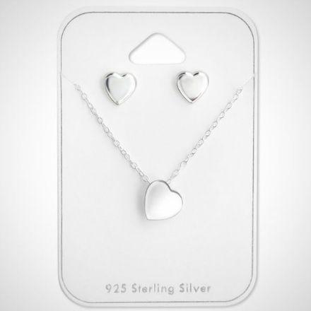 Afbeeldingen van Zilveren ketting en oorknoppen - sieradenset - kinderset