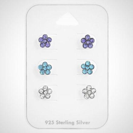 Afbeeldingen van Zilveren kinderoorknopjes - set van 3 - bloem- studs
