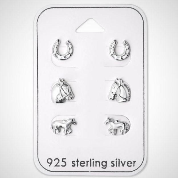 Afbeeldingen van Zilveren kinderoorknopjes voor de paardenliefhebbers - set van 3 - studs