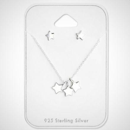 Afbeeldingen van Set zilveren kinderketting en oorknopjes - ster